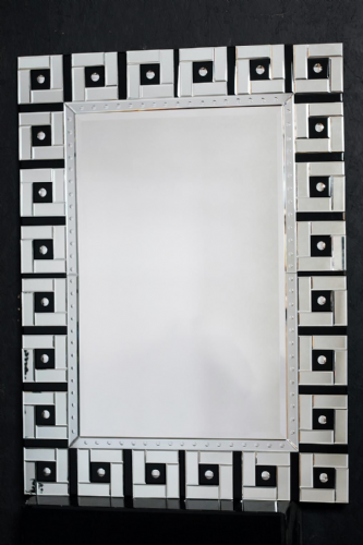 Venetian Mirror Black and Clear Glass Large